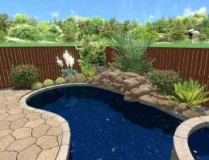 Backyard Pool Landscape Design Project in Prosper TX home. The professional landscape will include natural boulder stone masonry work around tropical plant beds filled with river rock and flagstone pool deck.