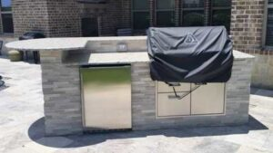Stone Veneer BBQ Grilling Station