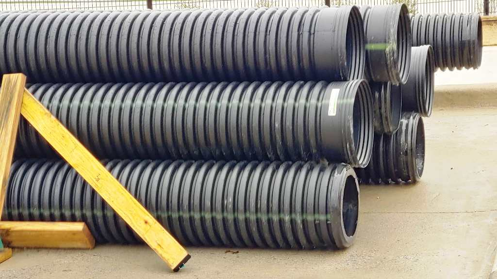 French Drain Installation Pipes