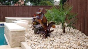 Landscaped Area with River Rocks