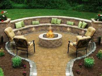 Outdoor fire pit, pavers project, Frisco TX landscaping, stone paver walkway, outdoor seating area.