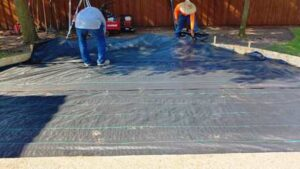 Landscaping Fabric Installed Under Pavers