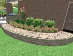 Stone Walkway Landscape Project Design in Frisco Texas with natural flagstone path and stone retaining wall around a landscape bed filled with shrubs and roses. The outdoor kitchen has a stone counter top and bbq grill.
