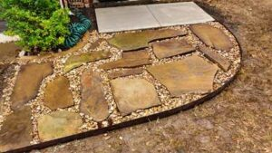 Flagstone Path with Fabric Underlayment