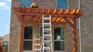 Workers Building Pergola with North Dallas Permit