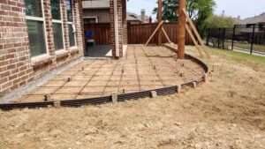 Posts Installed for Wooden Pergola Construction Project