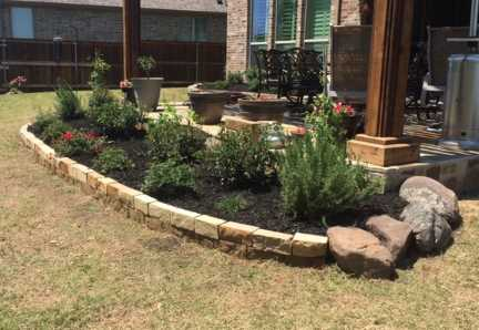 Landscaping bed with chopped stone and Moss rock boulder border edging in a Frisco Texas backyard containing rose bushes, shrubs and black hardwood mulch next to an outdoor kitchen.